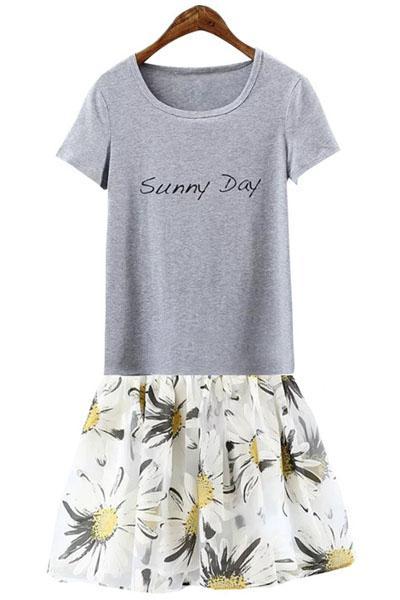 Lettera Di Stampa Manica Corta T-Shirt + Stampa Floreale Gonna