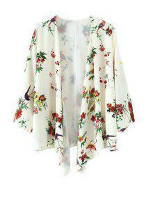 Floral Bird Print 3/4 Sleeve Kimono - White M