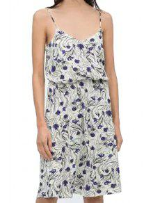 Buy Spaghetti Strap Purple Floral Print Dress - BLUE AND WHITE L