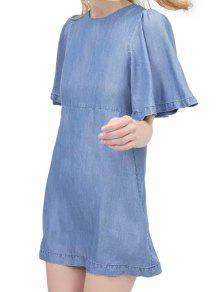 230f8e3562b4 24% OFF] 2019 Bleach Wash Bell Sleeve Denim Dress In BLUE   ZAFUL