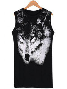 e90f9a8f9d9 28% OFF  2019 Wolf Print Scoop Neck Sundress In BLACK