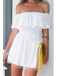Slash Neck White Elastic-Waisted Dress - White Xl