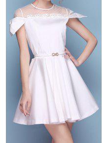 Lace Splicing Openwork Belt Short Sleeve Dress - White S