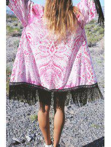 Collarless Printed Tassel Spliced Kimono Blouse - Pink L
