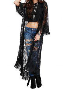 Lace Black See-Through Blouse - Black M