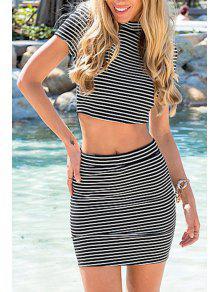 Stand-Up Collar Stripe Back Zipper Splicing Dress - Gray L