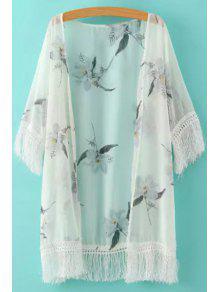 White Fringe Splicing Floral Print Half Sleeve Kimono - White