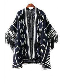 Geometric Pattern Color Block Fringe Kimono Cardigan - White And Black