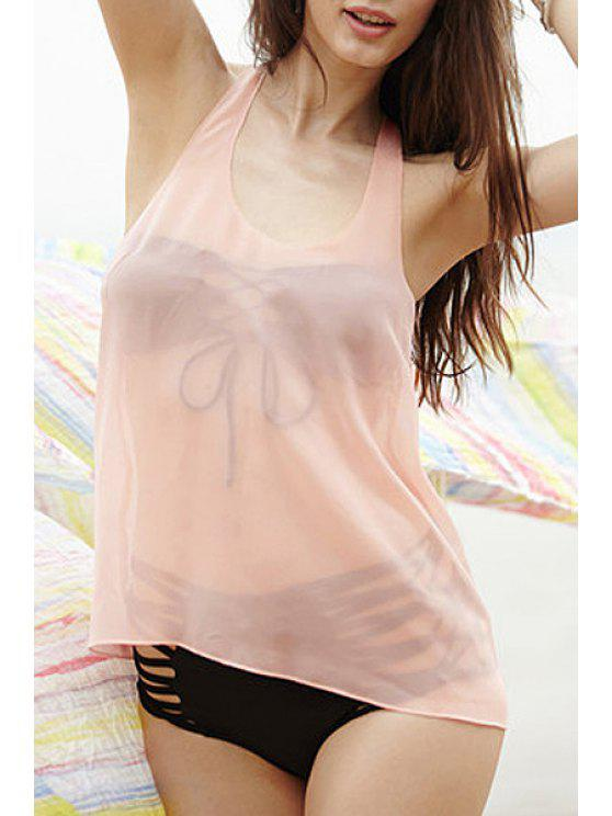 chic See-Through Bowknot Tank Top - PINK S
