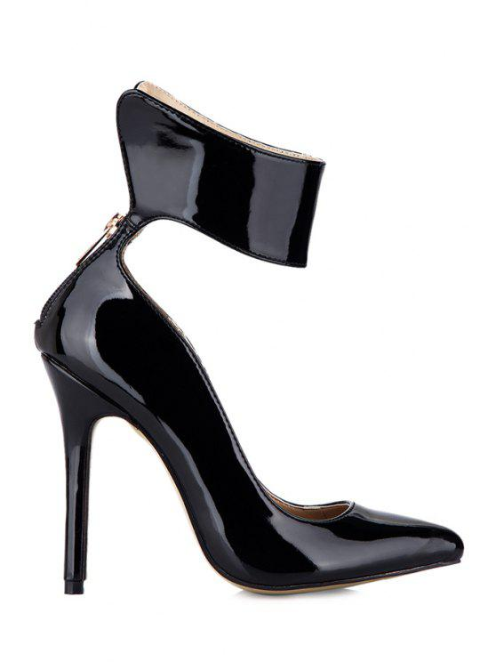 40% OFF  2019 Stiletto Heel Black Patent Leather Pumps In BLACK