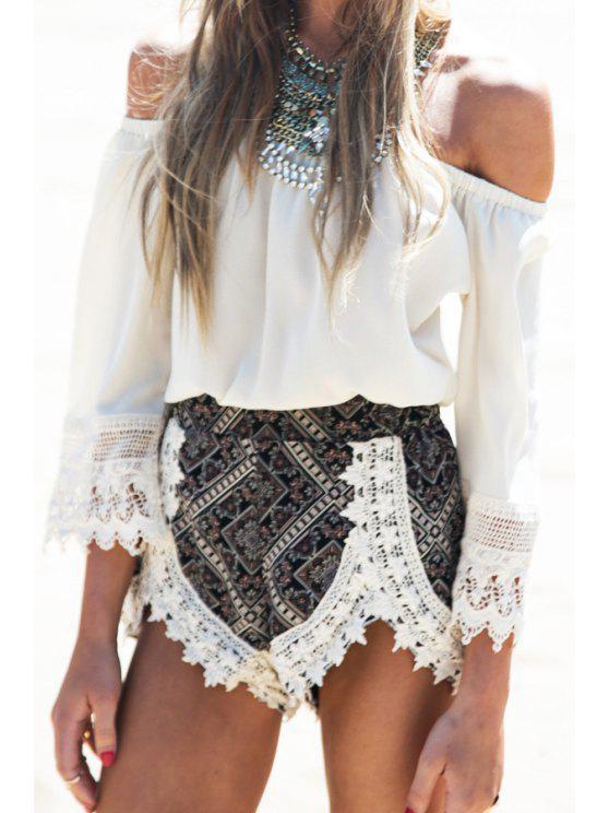 trendy Slash Neck Off-The-Shoulder Lace Splicing T-Shirt - WHITE S