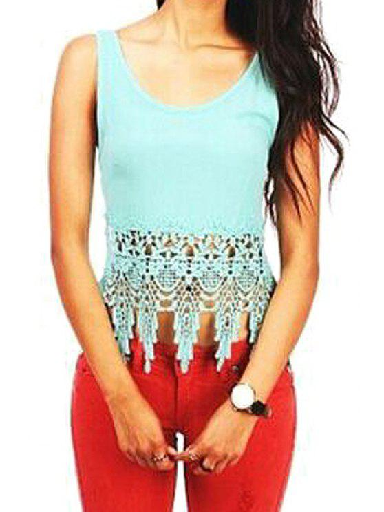 buy Backless Tie-Up Lace Splicing Tank Top - TURQUOISE S
