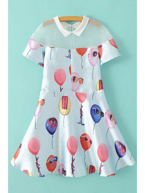 new Balloon Print Short Sleeve A Line Dress - WHITE M