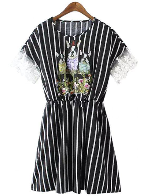 shop Puppy Print Stripe Short Sleeve Dress - BLACK M