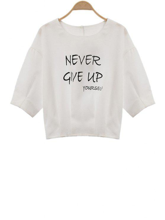 online Letter Print 3/4 Sleeves Sweatshirt - WHITE S