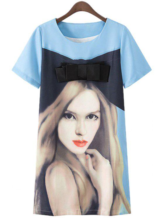 affordable Short Sleeve Girl Print Dress - BLUE S