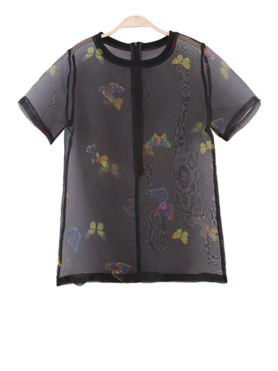 new Print See-Through Short Sleeve Blouse - BLACK S