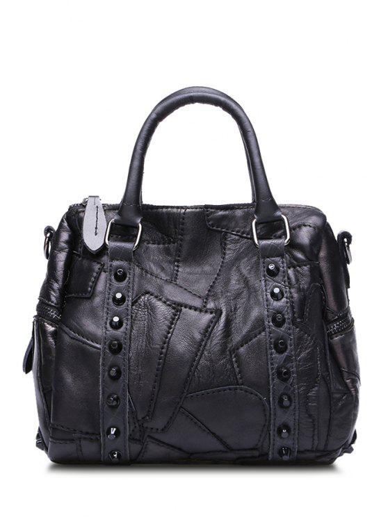 affordable Stitching Black Rivets Zipper Tote Bag - BLACK