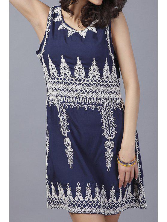 fashion Scoop Neck Embroidery Sundress - PURPLISH BLUE ONE SIZE(FIT SIZE XS TO M)