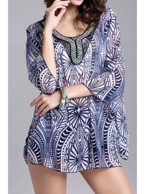 outfits Geometric Print 3/4 Sleeve Chiffon Blouse - BLUE ONE SIZE(FIT SIZE XS TO M)