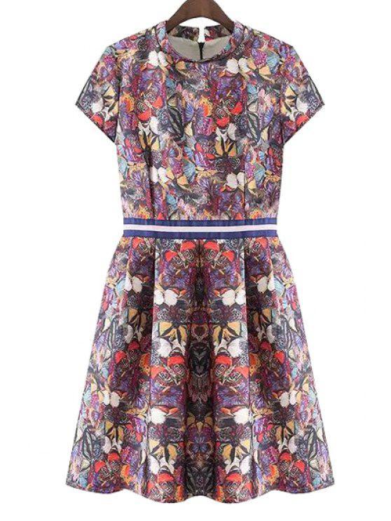 lady Butterfly Print Ruffle Short Sleeve Dress - DARK RED S