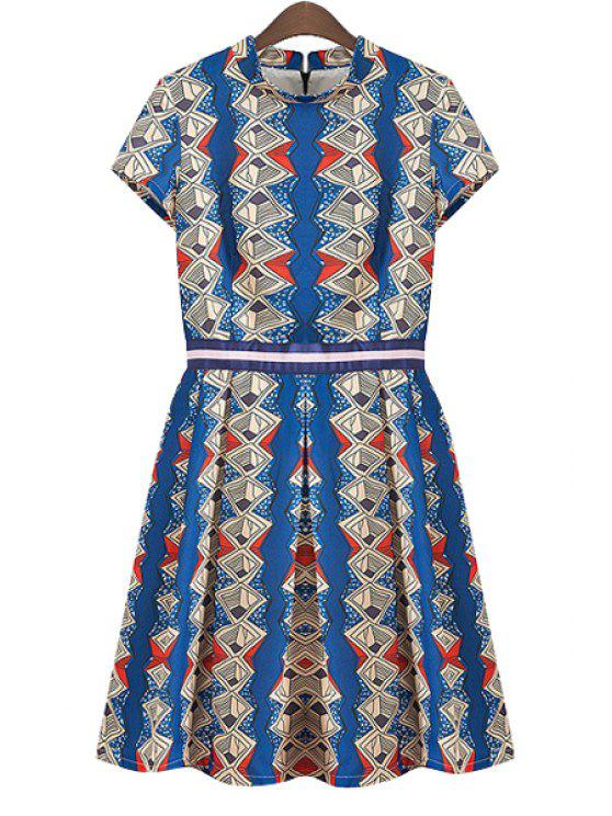 outfit Argyle Print Ruffle Short Sleeve Dress - BLUE S