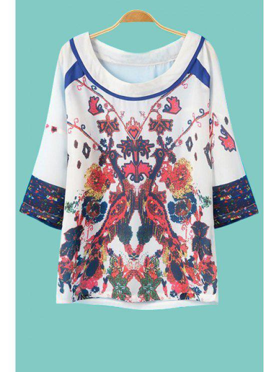 best Colorful Floral Print 3/4 Sleeve T-Shirt - WHITE S