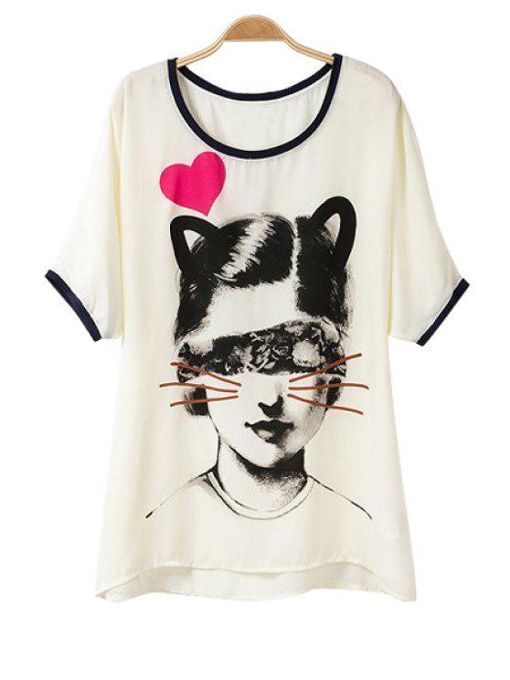 outfits Girl Print Asymmetrical Short Sleeve T-Shirt - WHITE M