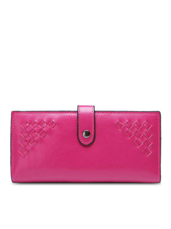 ladies Weaving Button Pu Leather Wallet - ROSE