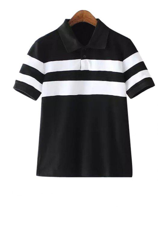 fashion White Stripe Short Sleeve T-Shirt - WHITE AND BLACK S