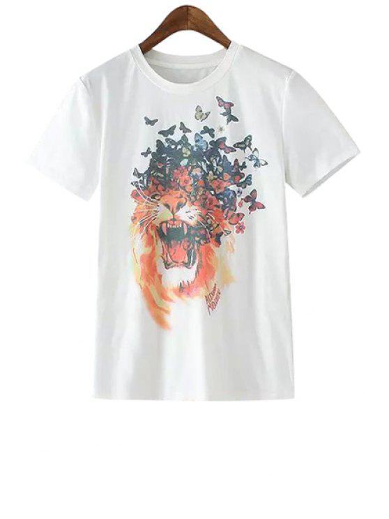 buy Butterfly Lion Print Short Sleeve T-Shirt - WHITE S