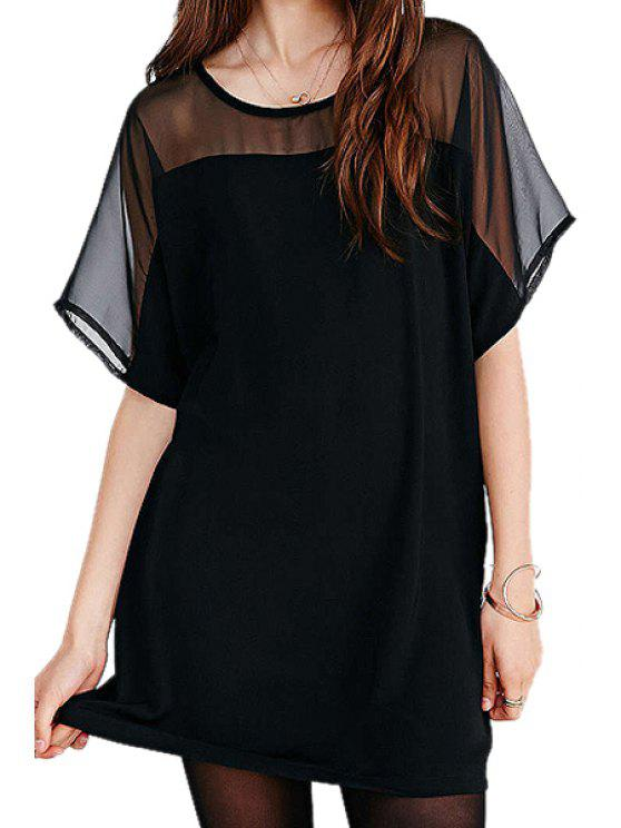 shop Chiffon Spliced Short Sleeve Dress - BLACK M