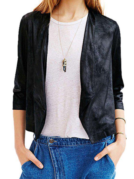online Black PU Leather 3/4 Sleeve Coat - BLACK XS