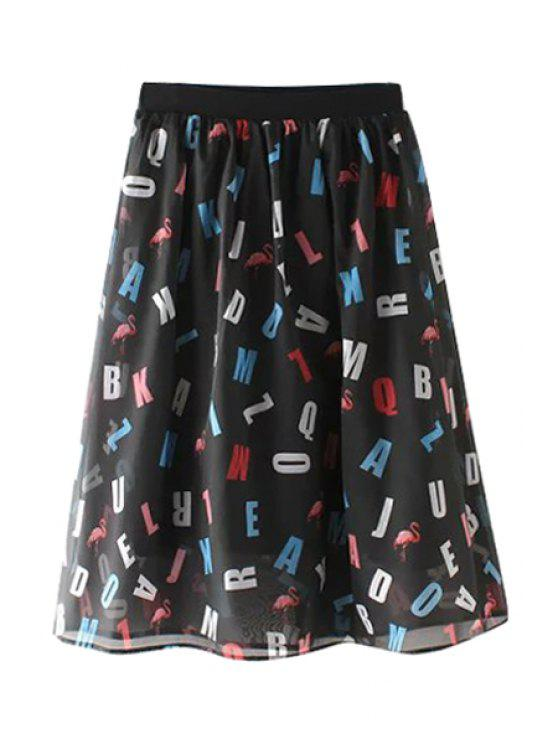 fancy Colorful Letter Print Voile Midi Skirt - BLACK S
