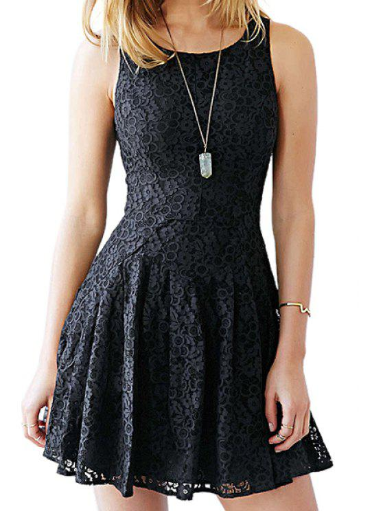 new Solid Color A Line Lace Sundress - BLACK S