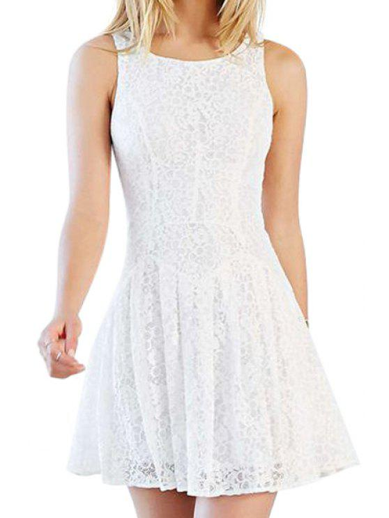 latest Solid Color A Line Lace Sundress - WHITE S