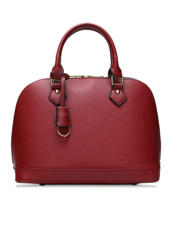 lady Solid Color Pendant Zipper Tote Bag - WINE RED