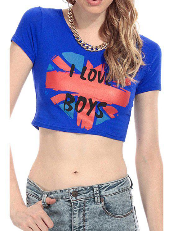 new Heart Print Short Sleeve Crop Top - BLUE XS