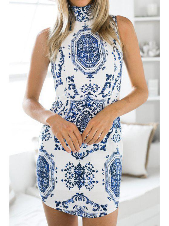 women Mandarin Collar Blue and White Porcelain Dress - BLUE AND WHITE S