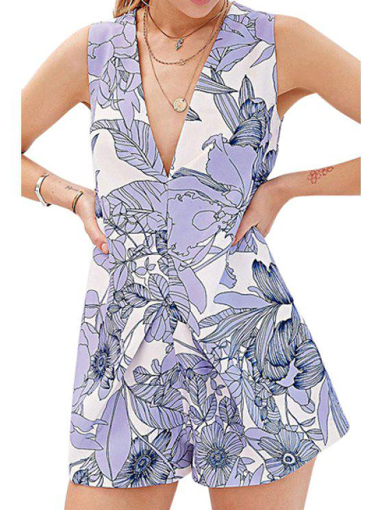 new Plunging Neck Sleeveless Floral Romper - BLUE XS