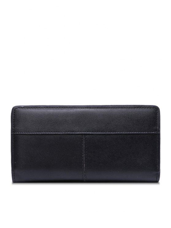 online PU Leather Solid Color Splicing Wallet - BLACK