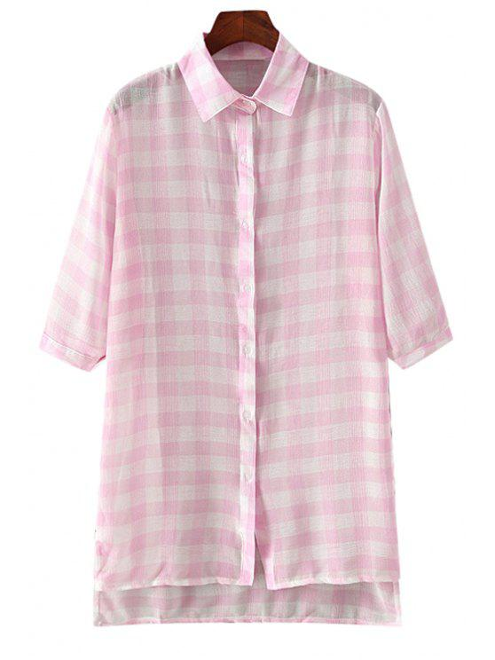 latest Plaid High Low Half Sleeve Shirt - PINK ONE SIZE(FIT SIZE XS TO M)