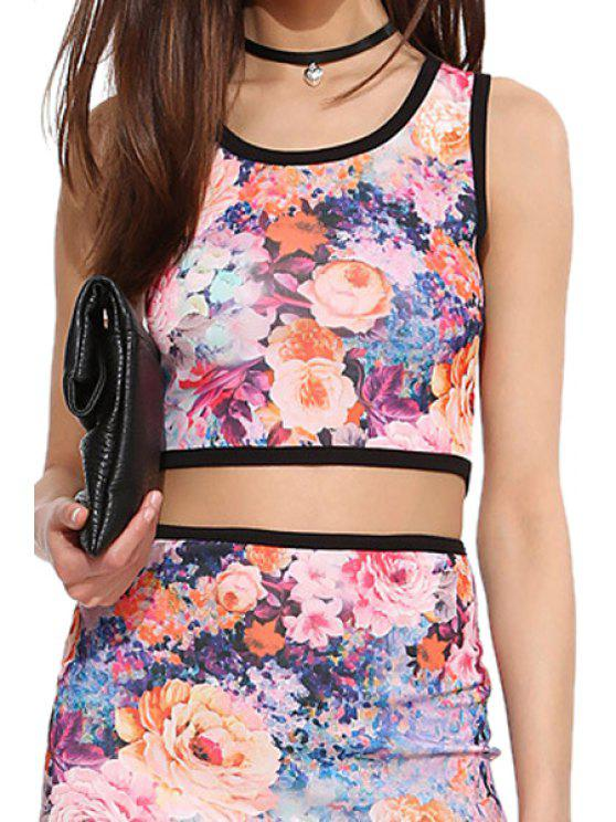 shops Flower Print Scoop Neck Crop Top - COLORMIX M