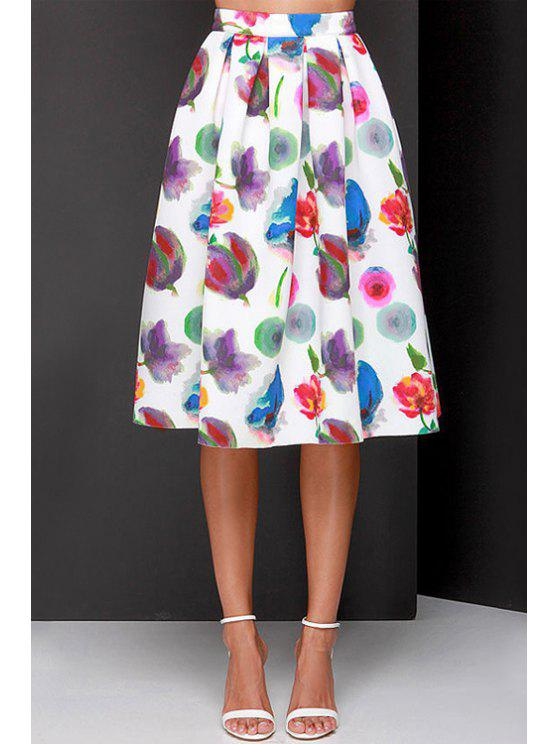 online Full Flower Print A Line Midi Skirt - WHITE L
