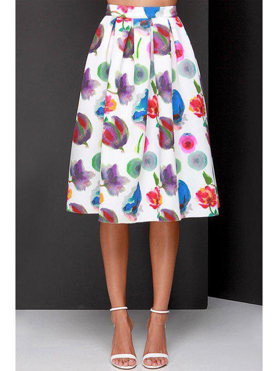 hot Full Flower Print A Line Midi Skirt - WHITE XL