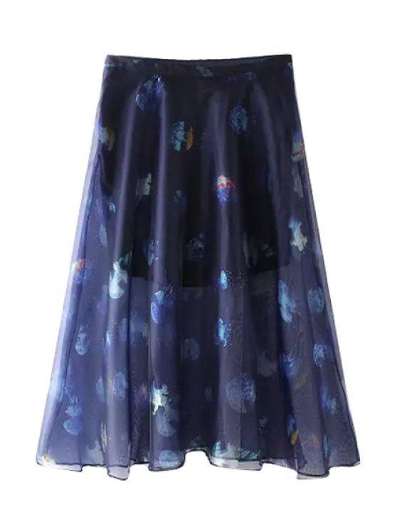 buy Jellyfish Print Zipper Fly Midi Skirt - BLUE S