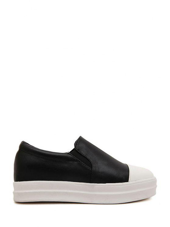 hot Color Block Elastic Splicing Platform Shoes - BLACK 35