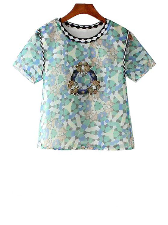 women Argyle Baby Print Short Sleeve T-Shirt - AS THE PICTURE XS