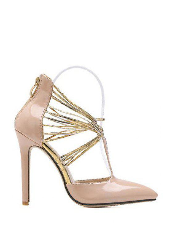 affordable Criss-Cross Patent Leather Stiletto Heel Pumps - APRICOT 35