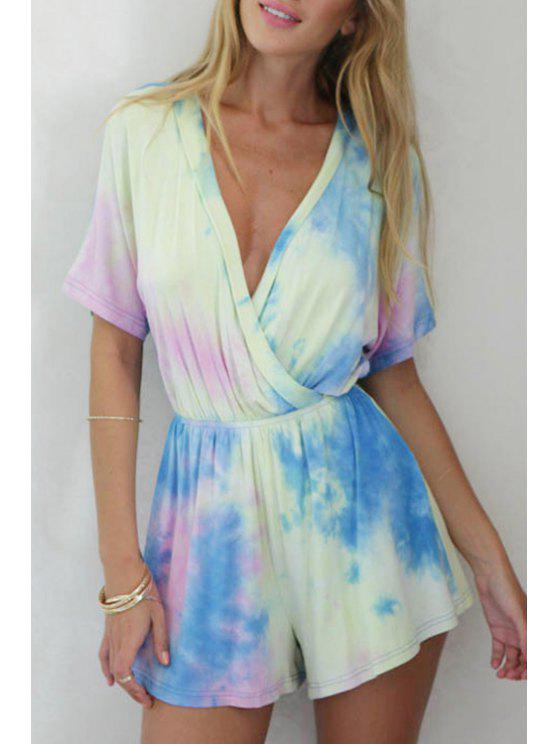 buy Colorful Print Short Sleeve Romper - COLORMIX M